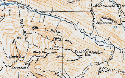 Old map of Lingmell in 1925
