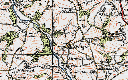 Old map of Pillaton in 1919