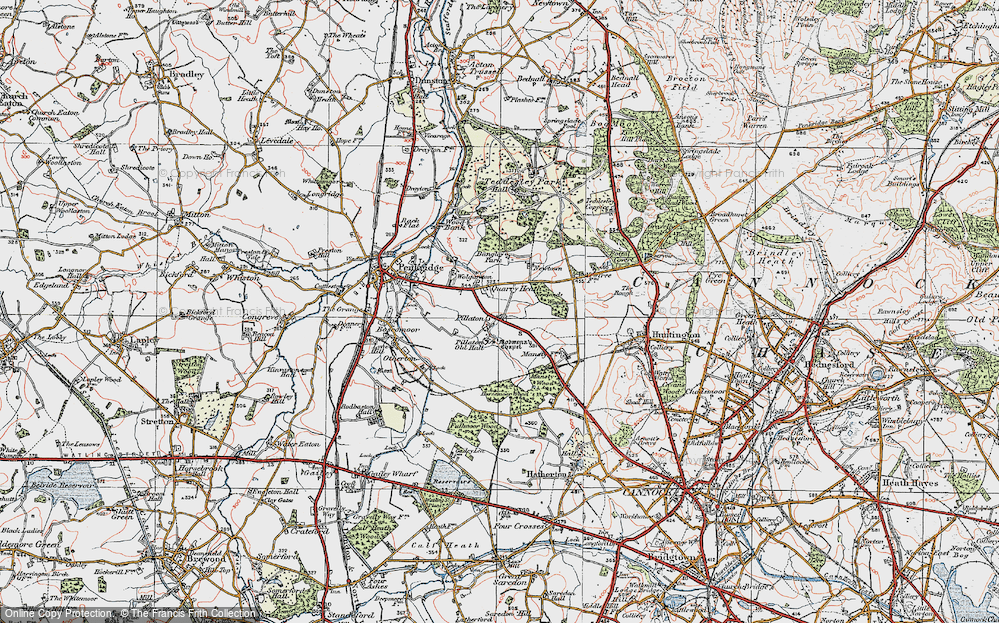 Old Map of Historic Map covering Bangley Park in 1921