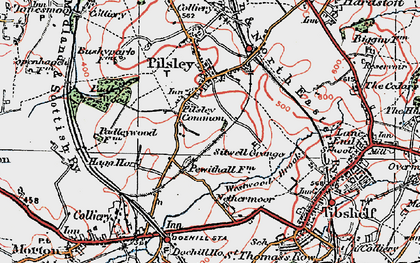 Old map of Pilsley Green in 1923