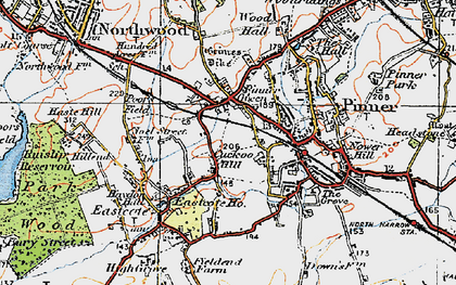 Old map of Pinner in 1920