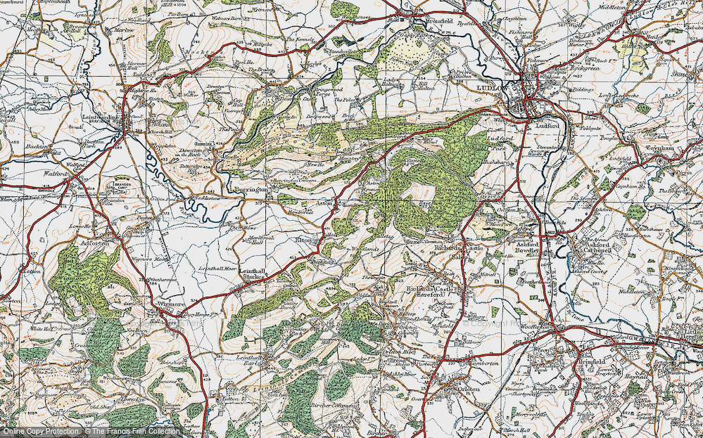Old Map of Historic Map covering Woodlands in 1920