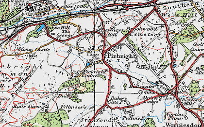 Old map of Pirbright in 1920