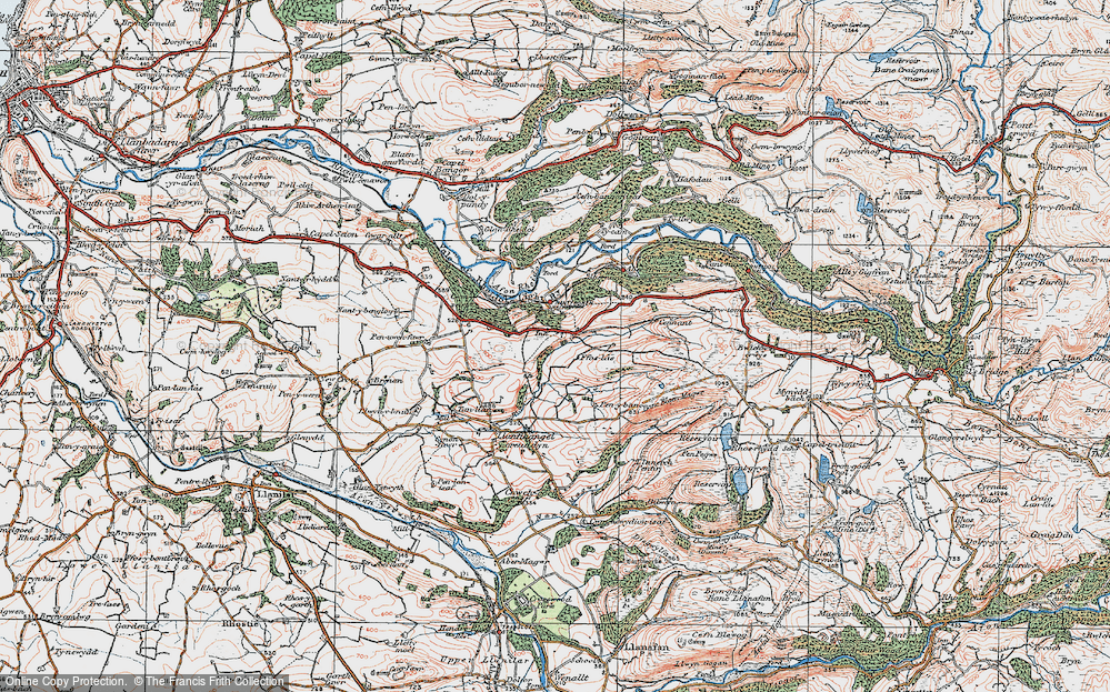 Old Map of Historic Map covering Allt-fedw in 1922