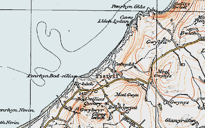 Old map of Pistyll in 1922
