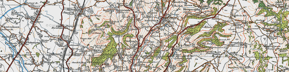 Old map of Pitchcombe in 1919