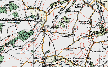 Old map of Pitchford in 1921