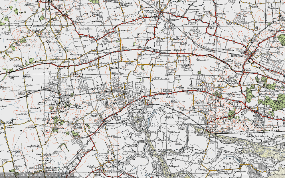 Old Map of Pitsea, 1921 in 1921