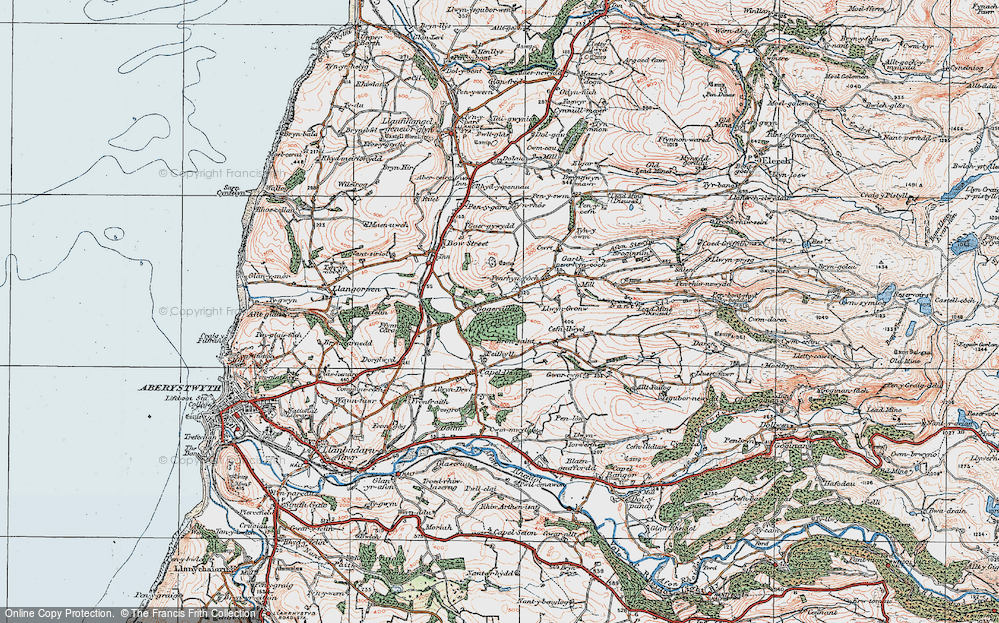 Old Map of Historic Map covering Allt Dderw in 1922