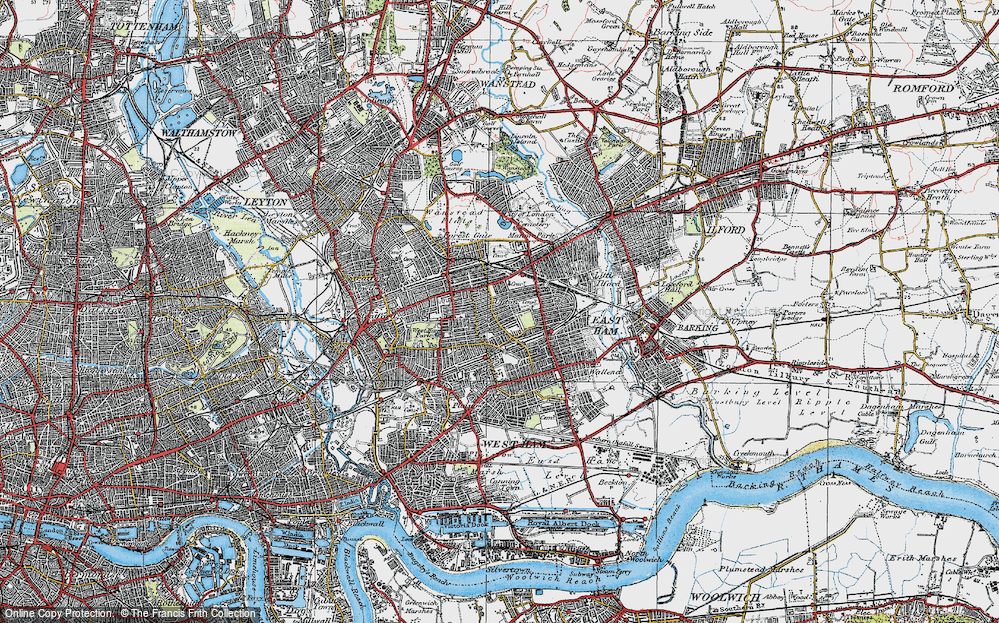 Old Map of Plashet, 1920 in 1920