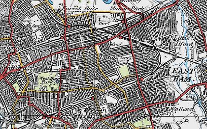 Old map of Plashet in 1920
