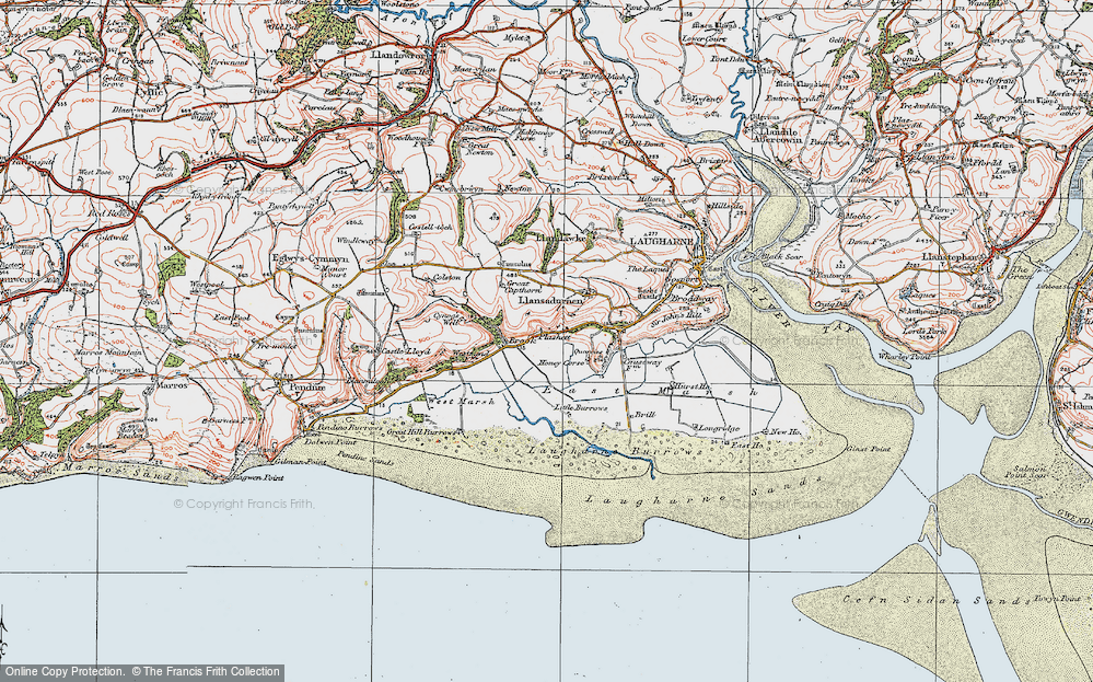 Old Map of Historic Map covering Laugharne Burrows in 1922