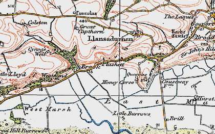 Old map of Laugharne Burrows in 1922