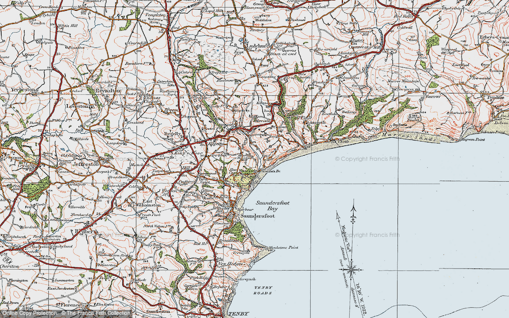 Old Map of Historic Map covering Woodside in 1922