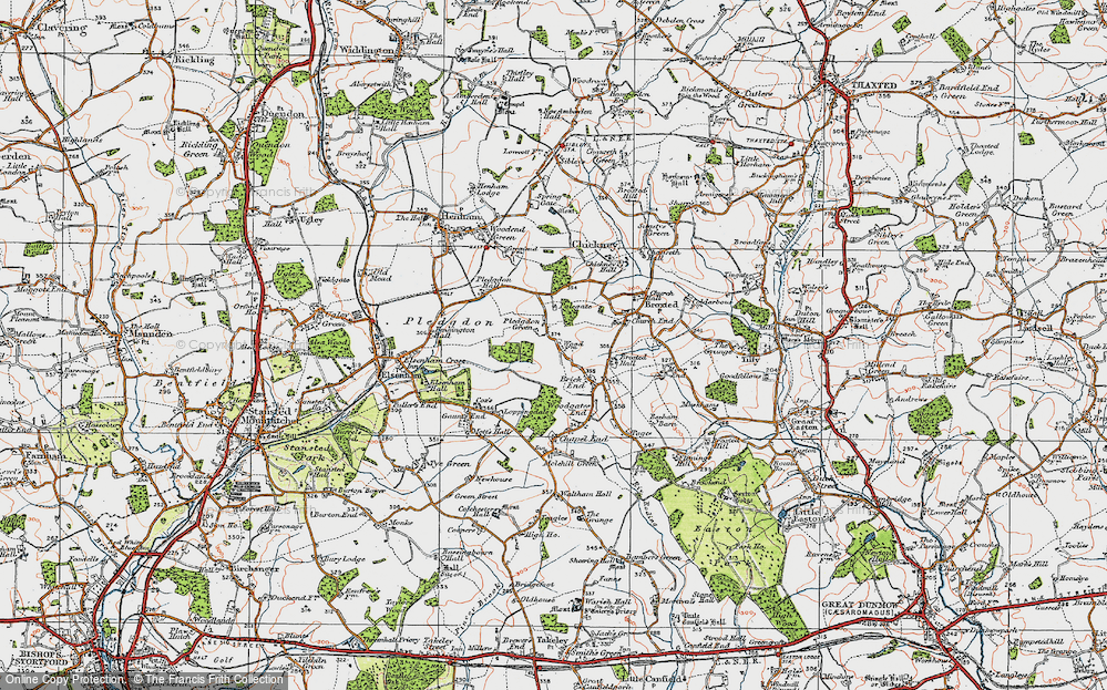 Old Map of Historic Map covering Wood Farmhouse in 1919