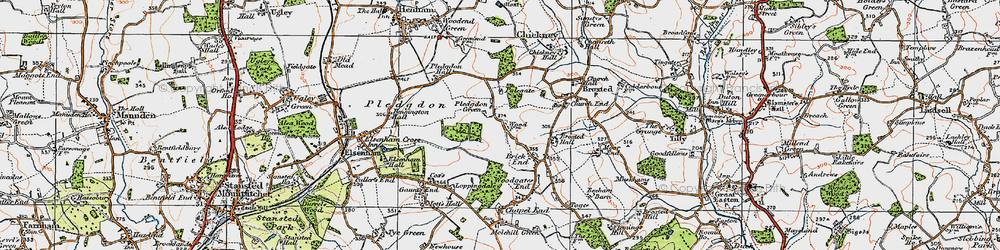 Old map of Wood Farmhouse in 1919