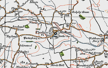 Old map of Pleshey in 1919