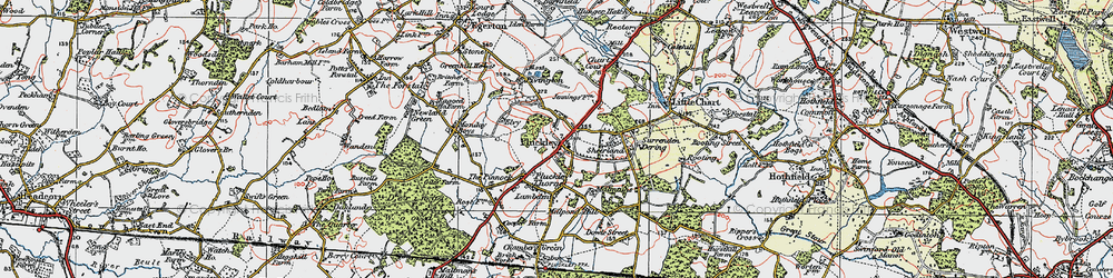 Old map of Pluckley in 1921