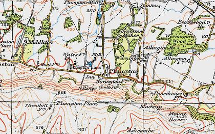 Old map of Plumpton in 1920