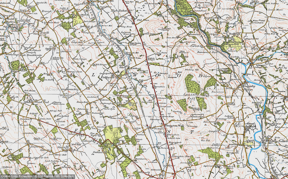 Old Map of Historic Map covering Aikbank Common in 1925