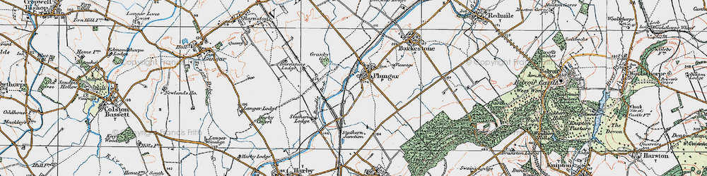 Old map of Langar Airfield in 1921
