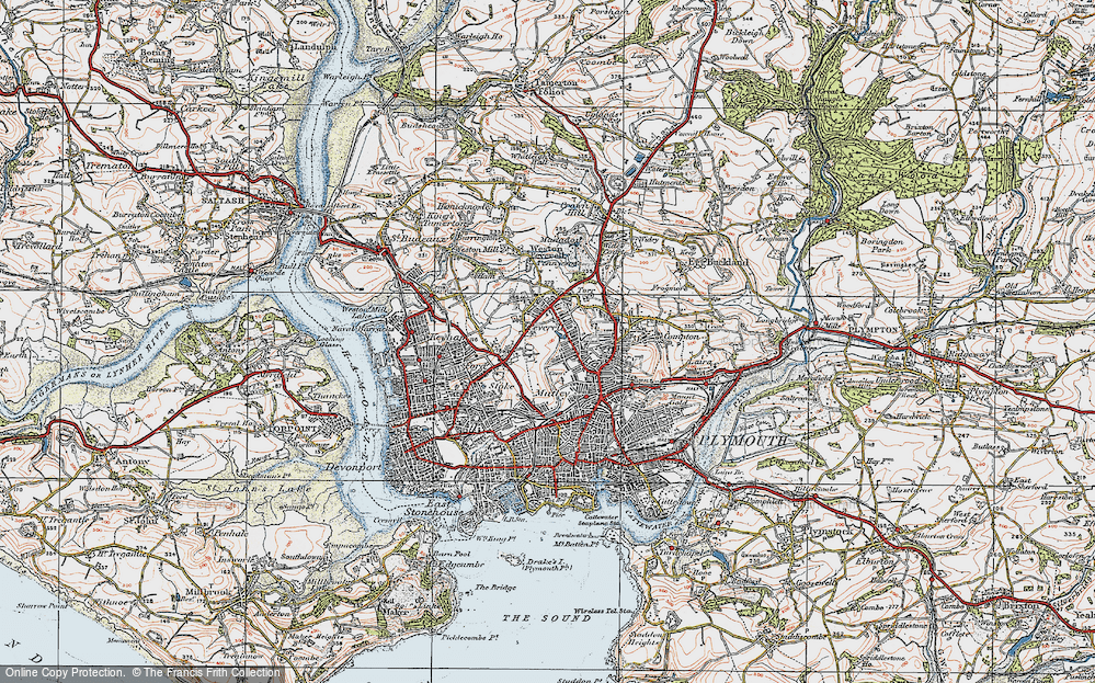 Old Map of Plymouth, 1919 in 1919