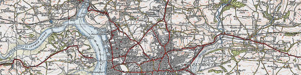 Old map of Plymouth in 1919