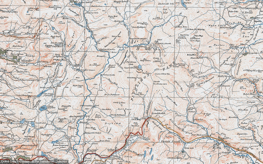 Old Map of Historic Map covering Banc Lluestnewydd in 1921