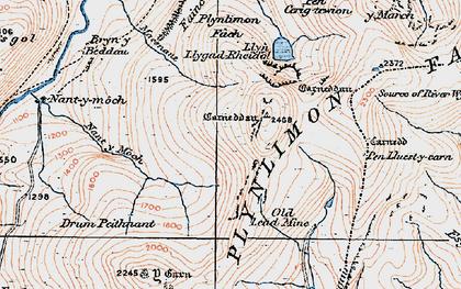 Old map of Banc Llechwedd-mawr in 1921