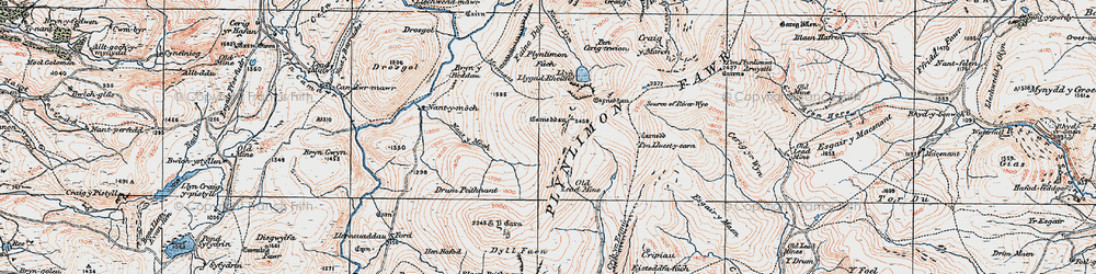 Old map of Plynlimon in 1921