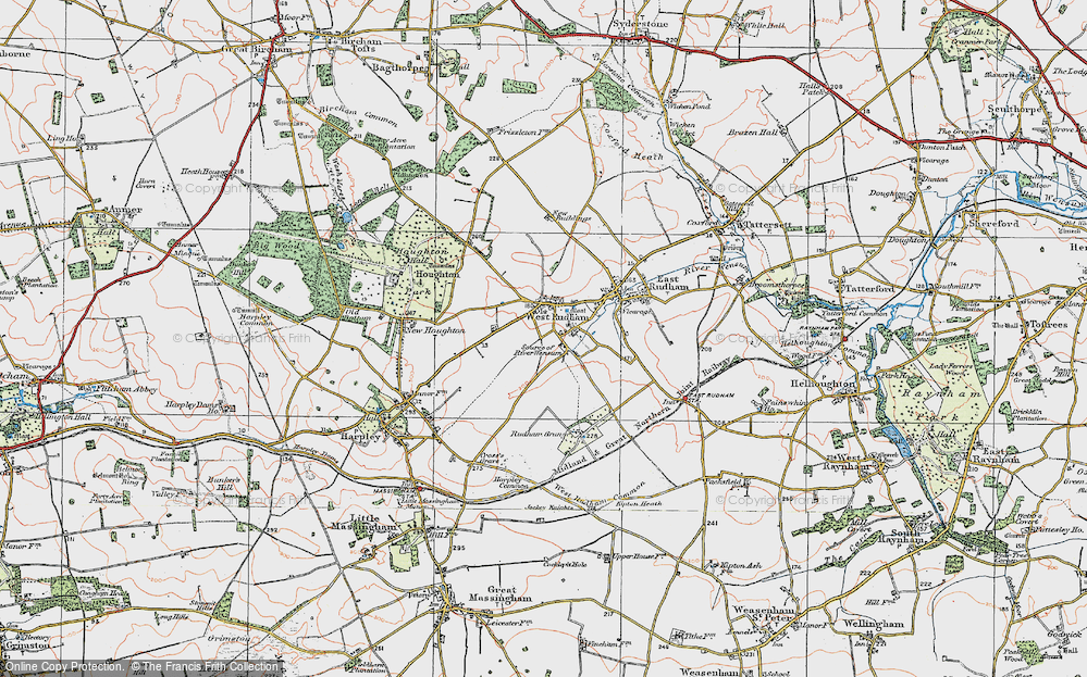 Old Map of Pockthorpe, 1921 in 1921