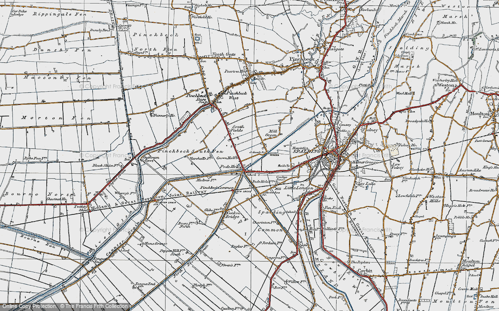 Old Map of Historic Map covering Lindum Ho in 1922