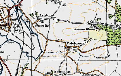 Old map of Ashton Wold Ho in 1920