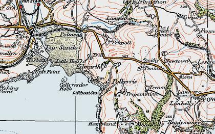 Old map of Polkerris in 1919