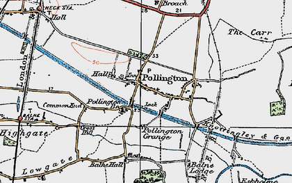 Old map of Balne Hall in 1924