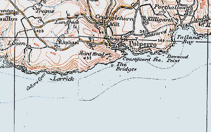 Old map of Polperro in 1919