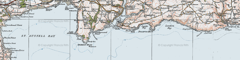 Old map of Polruan in 1919