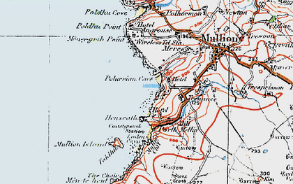 Old map of Polurrian Cove in 1919