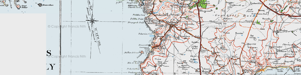 Old map of Poldhu Point in 1919