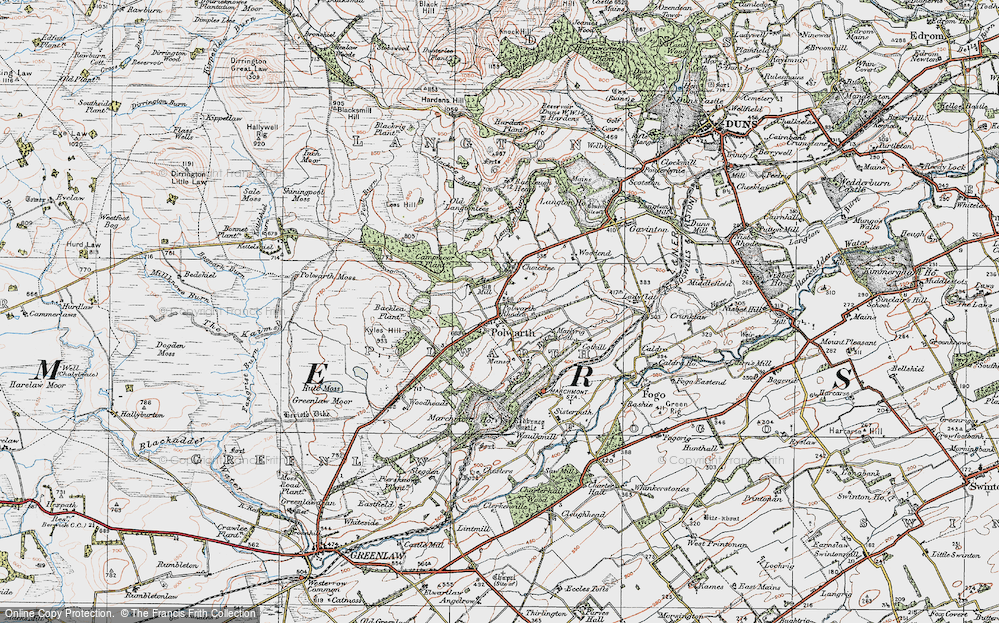Old Map of Historic Map covering Backlea Plantn in 1926