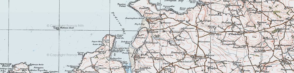 Old map of Polzeath in 1919