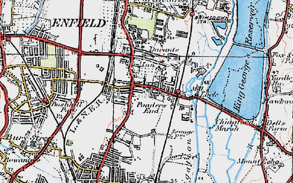 Old map of Ponders End in 1920