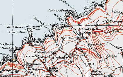 Old map of Zennor Head in 1919