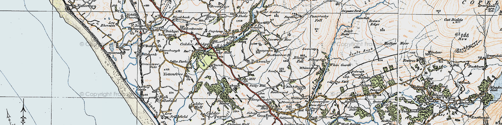 Old map of Wheel Fell in 1925