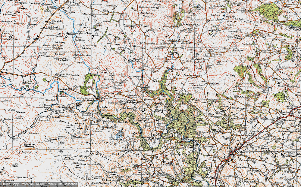 Old Map of Historic Map covering Leusdon in 1919