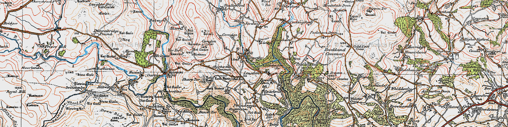 Old map of Leusdon in 1919