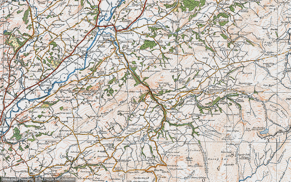 Old Map of Historic Map covering Afon Swadde in 1923