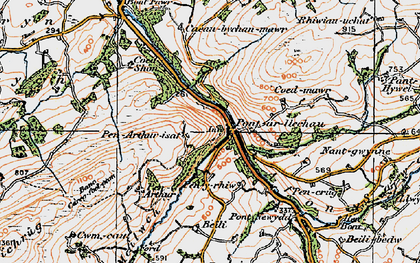 Old map of Afon Swadde in 1923