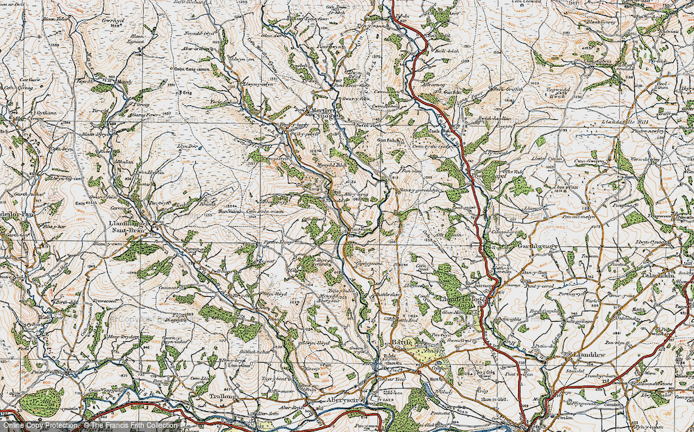 Old Map of Historic Map covering Alltycerrig in 1923