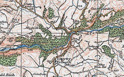 Old map of Pont-rhyd-y-groes in 1922
